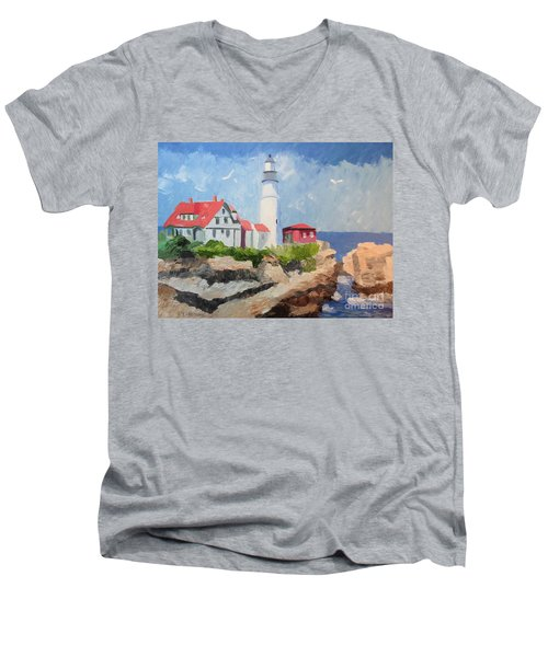 Portland Headlight By The Sea Men's V-Neck T-Shirt