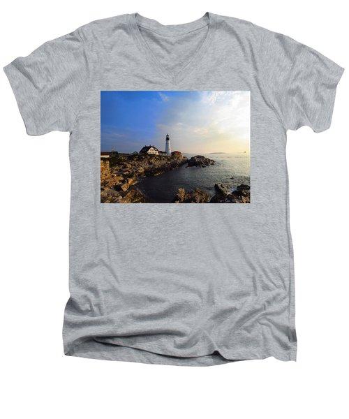 Portland Headlight Morning Glow Men's V-Neck T-Shirt