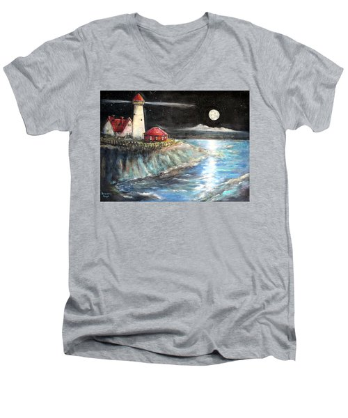 Portland Maine Twilight Men's V-Neck T-Shirt by Bernadette Krupa