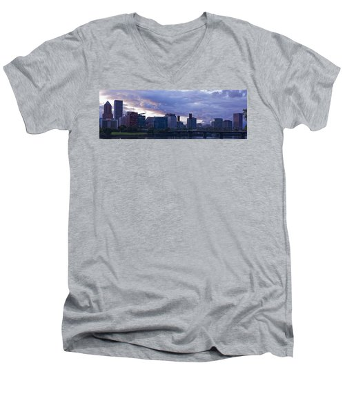 Men's V-Neck T-Shirt featuring the photograph Portland Oregon Panorama by Jonathan Davison