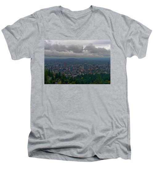 Portland Overlook Men's V-Neck T-Shirt by Jonathan Davison