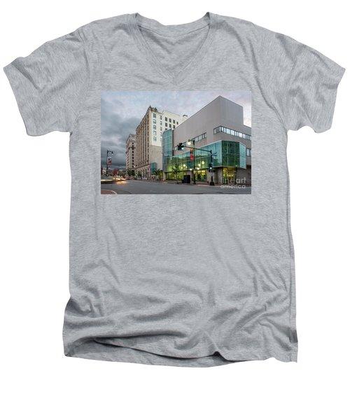 Portland Public Library, Portland, Maine #134785-87 Men's V-Neck T-Shirt