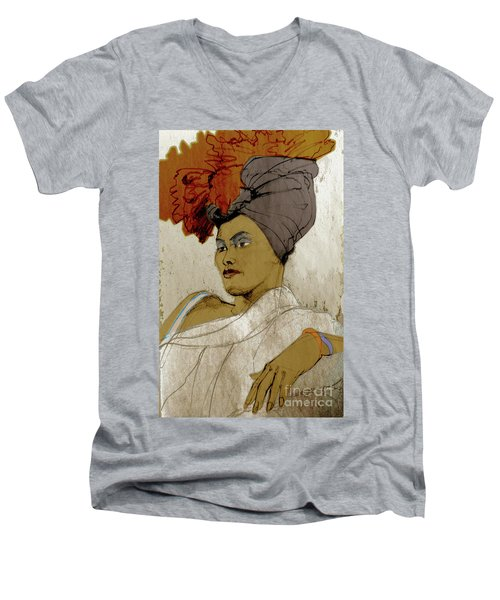 Portrait Of A Caribbean Beauty Men's V-Neck T-Shirt