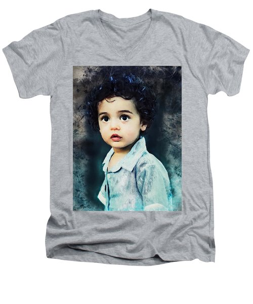 Portrait Of A Child Men's V-Neck T-Shirt