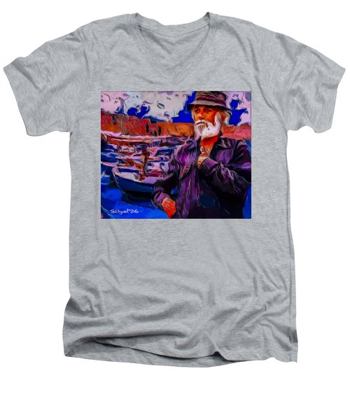 Men's V-Neck T-Shirt featuring the painting Portrait Of A Fisherman by Ted Azriel