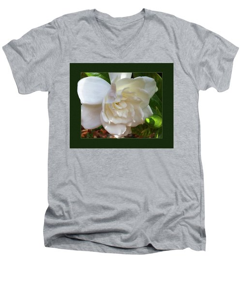 Portrait Of A Gardenia Men's V-Neck T-Shirt by Ginny Schmidt