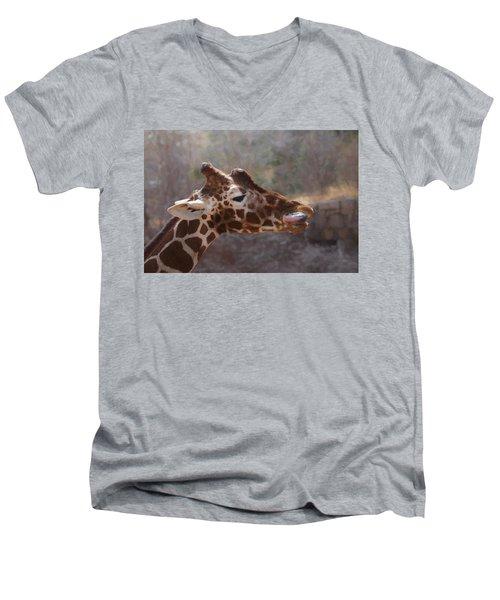 Men's V-Neck T-Shirt featuring the digital art Portrait Of A Giraffe by Ernie Echols