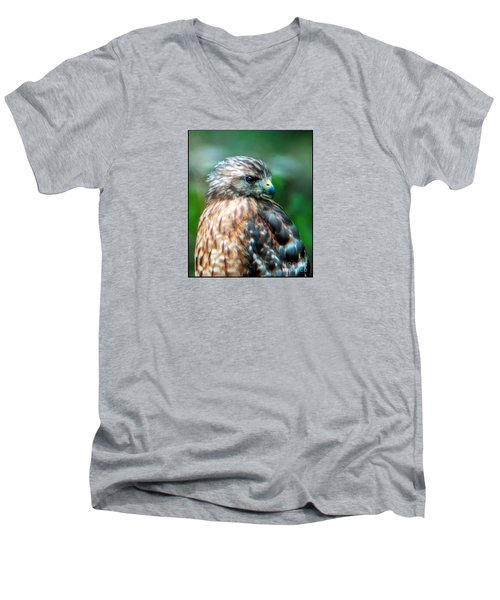 Portrait Of A Hawk Men's V-Neck T-Shirt by Sue Melvin