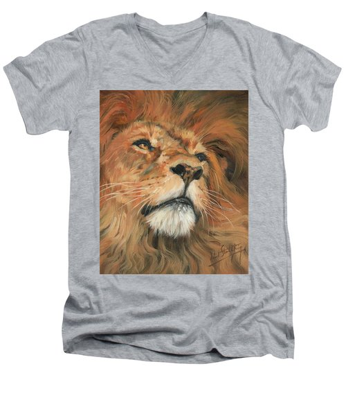 Men's V-Neck T-Shirt featuring the painting Portrait Of A Lion by David Stribbling