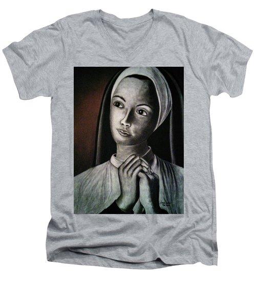 Portrait Of A Nun Men's V-Neck T-Shirt