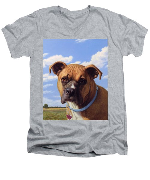 Men's V-Neck T-Shirt featuring the painting Portrait Of A Sweet Boxer by James W Johnson