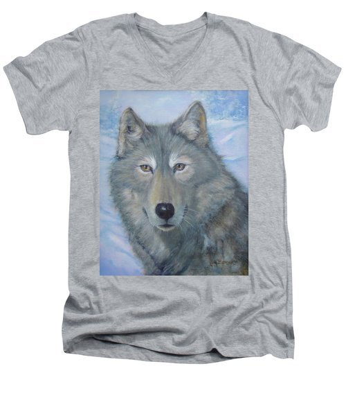 Portrait Of A Wolf Men's V-Neck T-Shirt
