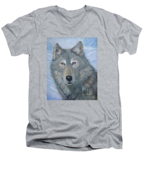 Portrait Of A Wolf Men's V-Neck T-Shirt