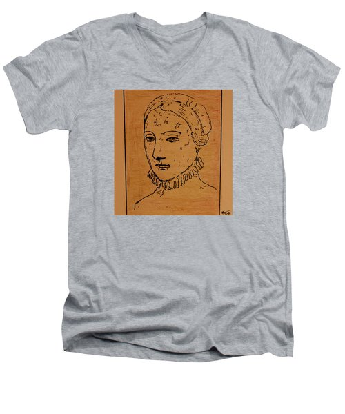 Portrait Of Anne Men's V-Neck T-Shirt by Bill OConnor