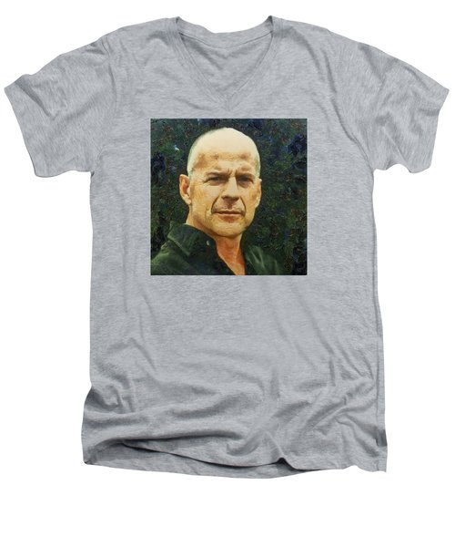 Men's V-Neck T-Shirt featuring the digital art Portrait Of Bruce Willis by Charmaine Zoe