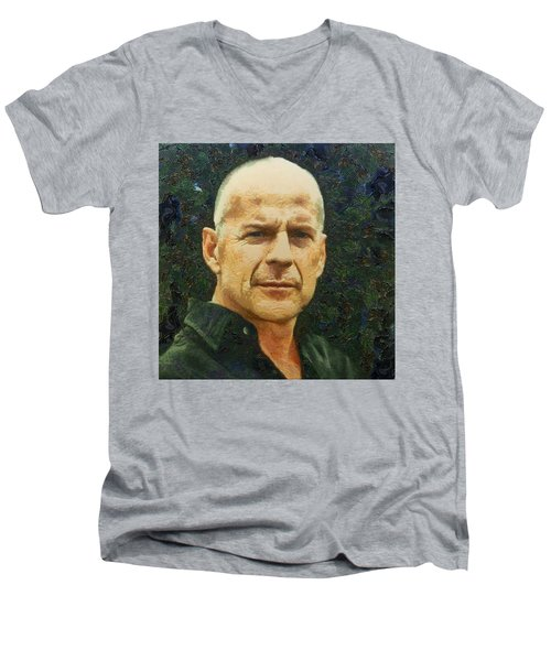 Portrait Of Bruce Willis Men's V-Neck T-Shirt