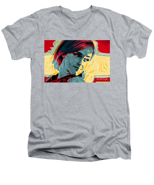 Portrait Of Emma Watson Men's V-Neck T-Shirt