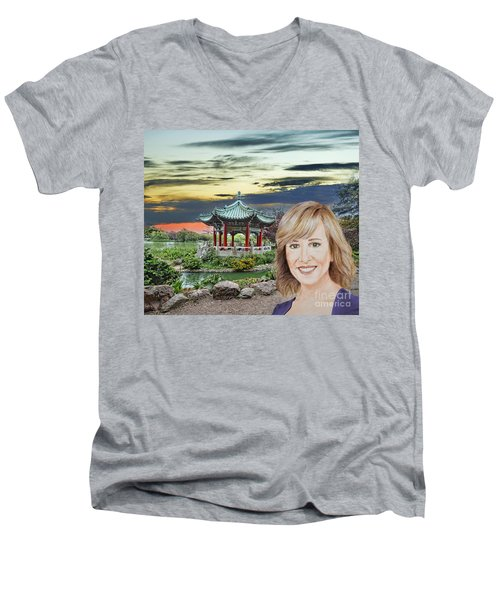 Portrait Of Jamie Colby By The Pagoda In Golden Gate Park Men's V-Neck T-Shirt by Jim Fitzpatrick