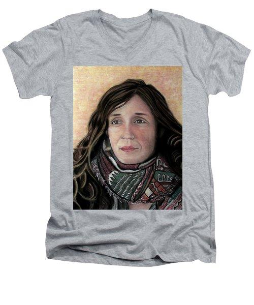 Men's V-Neck T-Shirt featuring the pastel Portrait Of Katy Desmond, C. 2017 by Denny Morreale