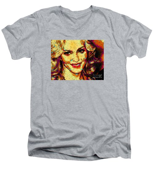 Portrait Of Madonna Men's V-Neck T-Shirt by Zedi