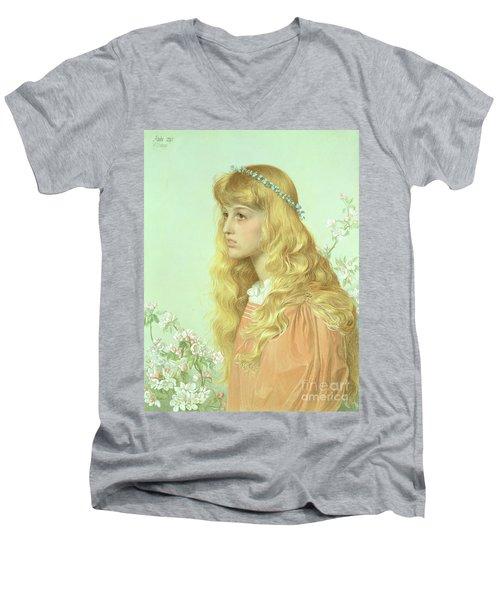 Portrait Of Miss Adele Donaldson, 1897 Men's V-Neck T-Shirt by Anthony Frederick Augustus Sandys