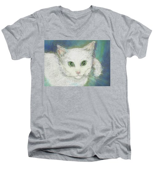 Men's V-Neck T-Shirt featuring the drawing Portrait Of Misty by Denise Fulmer