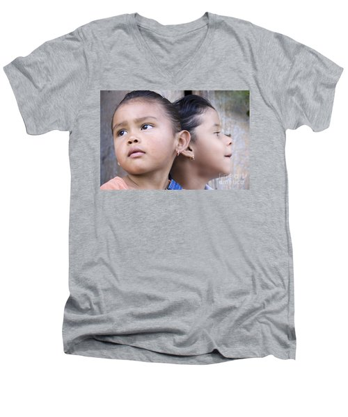 Men's V-Neck T-Shirt featuring the photograph Portrait Of Two Panama Girls by Heiko Koehrer-Wagner