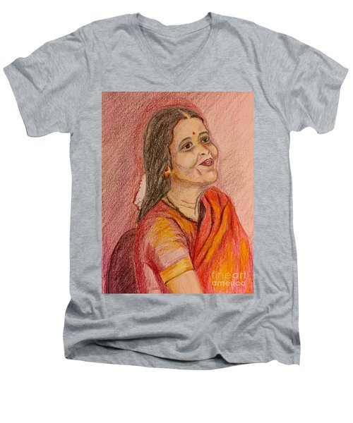 Portrait With Colorpencils Men's V-Neck T-Shirt