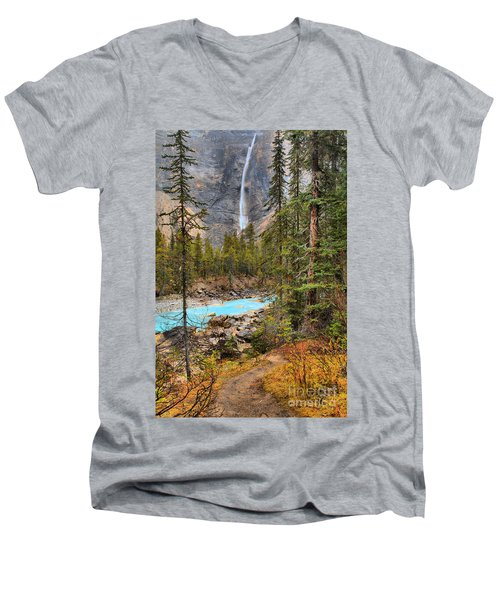 Men's V-Neck T-Shirt featuring the photograph Portrait Of Takakkaw Falls by Adam Jewell