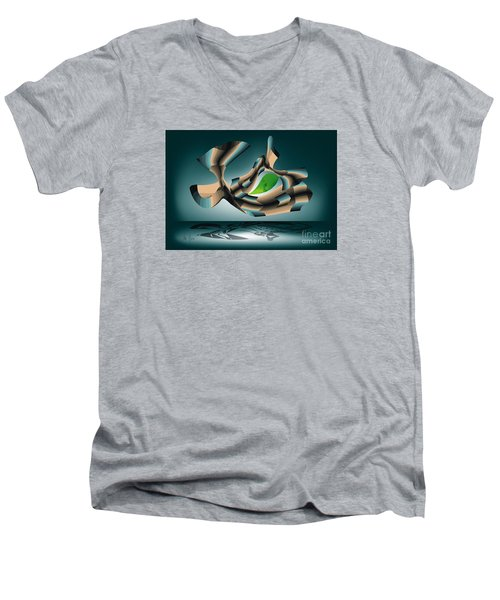 Men's V-Neck T-Shirt featuring the digital art Position by Leo Symon