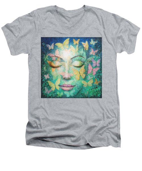 Men's V-Neck T-Shirt featuring the painting Possibilities Meditation by Sue Halstenberg