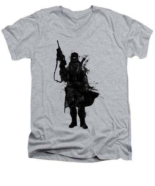Men's V-Neck T-Shirt featuring the digital art Post Apocalyptic Warrior by Nicklas Gustafsson