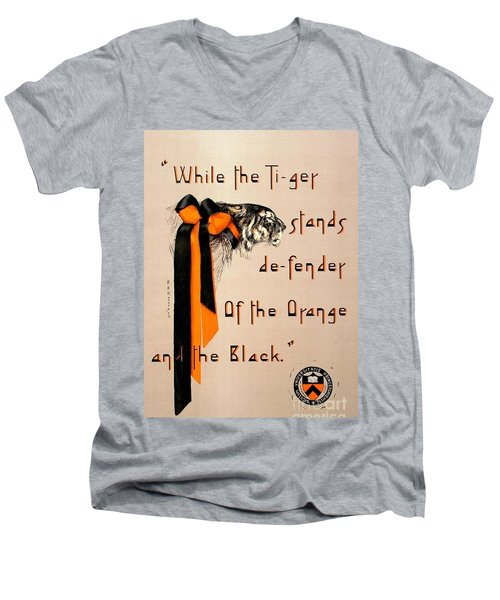 Poster - Princeton Tigers Men's V-Neck T-Shirt by Pg Reproductions