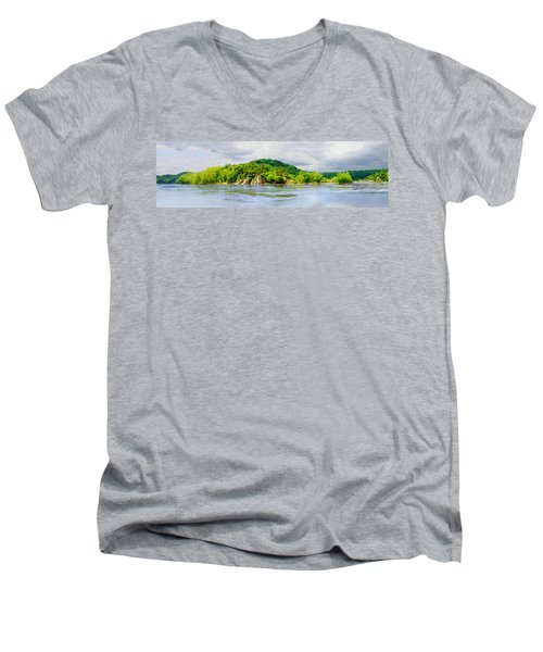 Men's V-Neck T-Shirt featuring the photograph Potomac Palisaides by Francesa Miller