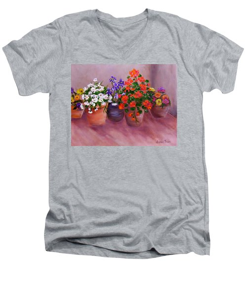 Pots Of Flowers Men's V-Neck T-Shirt