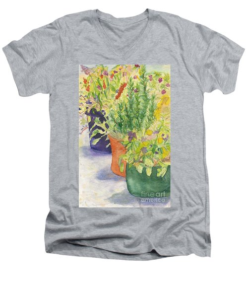 Men's V-Neck T-Shirt featuring the painting Potted Beauties  by Vicki  Housel