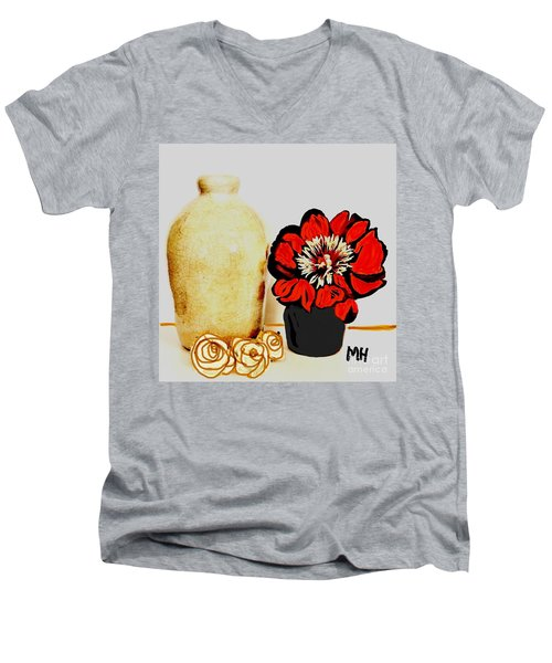 Men's V-Neck T-Shirt featuring the painting Pottery Peony Roses by Marsha Heiken