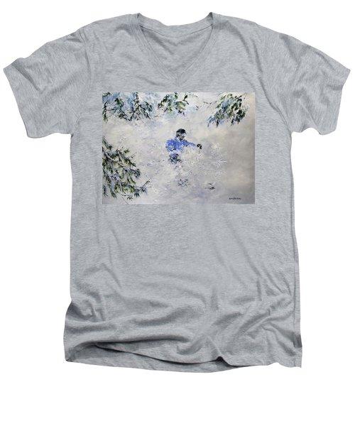 Powder Hound Men's V-Neck T-Shirt by Ken Ahlering