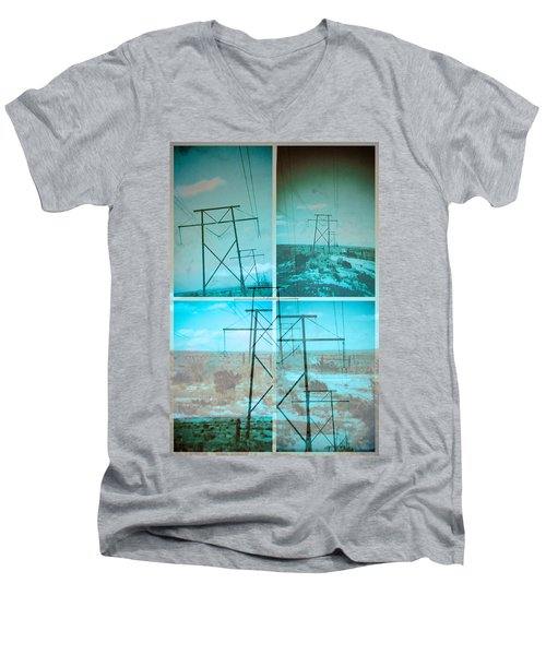 Power Line Patriots Men's V-Neck T-Shirt by Bartz Johnson