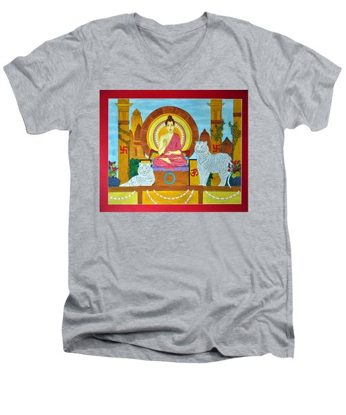 Men's V-Neck T-Shirt featuring the painting Power Of Meditation by Bliss Of Art