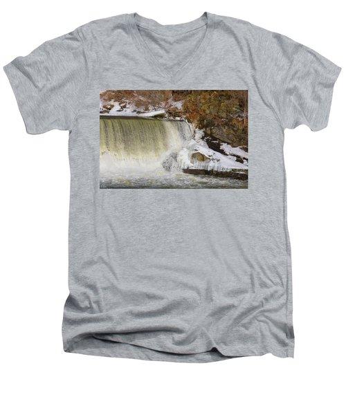 Power Station Falls On Black River Three Men's V-Neck T-Shirt