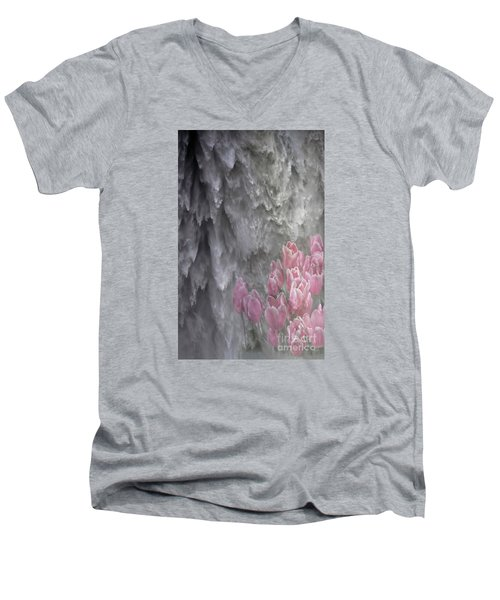 Powerful And Gentle Waterfall Art  Men's V-Neck T-Shirt by Valerie Garner