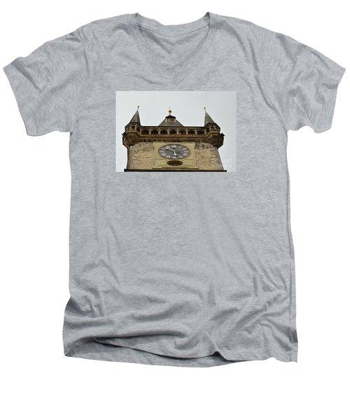 Men's V-Neck T-Shirt featuring the digital art Prague-architecture 2 by Leo Symon