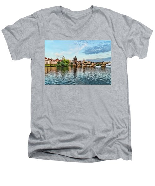Prague From The River Men's V-Neck T-Shirt
