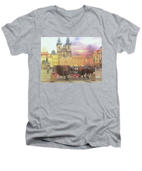 Prague Old Town Square Men's V-Neck T-Shirt