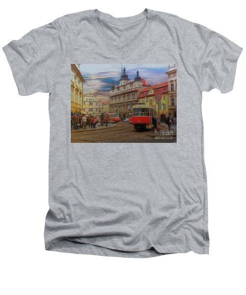 Prague, Old Town, Street Scene Men's V-Neck T-Shirt