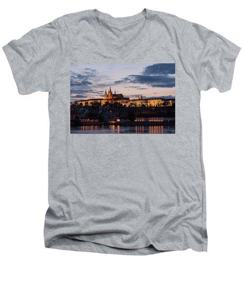 Men's V-Neck T-Shirt featuring the photograph Prague Twilight by Alex Lapidus