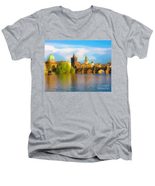 Men's V-Neck T-Shirt featuring the photograph Praha - Prague - Illusions by Tom Cameron