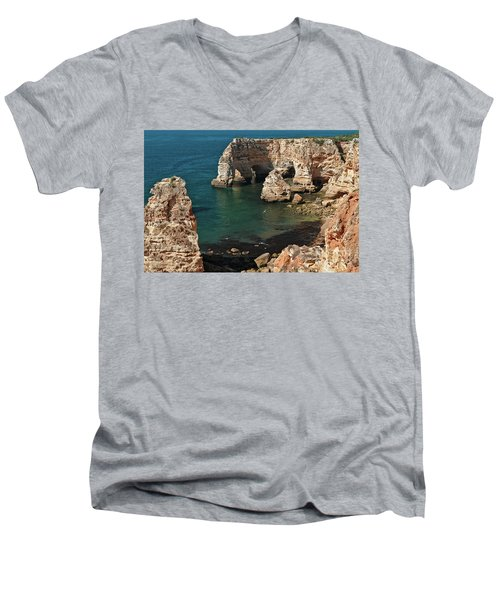 Praia Da Marinha Cliffs And Sea Men's V-Neck T-Shirt