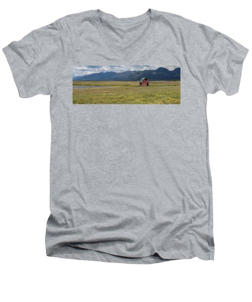 Men's V-Neck T-Shirt featuring the photograph Prairie Barn by Fran Riley